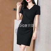 職業洋裝女夏2021新款裙顯瘦氣質包臀開叉短袖黑色一步裙子夏裝 快速出貨