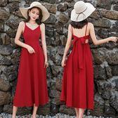 度假洋裝  普吉島沙灘裙2018新款海邊度假套裝紅色連身裙泰國
