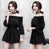 連身裙洋裝一字肩裙子女夏新品黑色領韓版連身裙褲顯瘦超仙 【快速出貨】