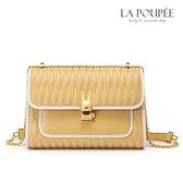 側背包 萌系兔子金屬扣菱格紋小方包 2色-La Poupee樂芙比質感包飾 (現貨+預購)