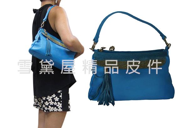 ~雪黛屋~ITALI DUCK 肩側包中容量二層主袋台灣製造100%進口牛皮革+棉質內裡布附二組ID9158A