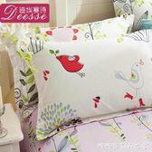 卡通枕套純棉單雙人加厚全棉枕頭枕芯套48 74cm 一對 糖糖日系森女屋