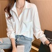 緞面襯衫 2021年夏季新款白色雪紡襯衫女設計感小眾襯衣春款時尚百搭上衣潮 設計師