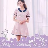 洋裝 Hello Kitty x Ruby 聯名款.層次花邊珍珠字母壓紋短袖洋裝-粉紅色-Ruby s 露比午茶