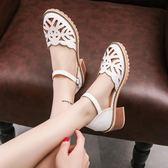 韓版英倫時尚夏季女涼鞋粗跟中跟防滑包頭鏤空百搭休閒女涼鞋   琉璃美衣