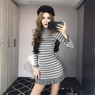 長袖洋裝 春秋韓版條紋修身顯瘦打底針織裙荷葉邊魚尾包臀連身裙女  降價兩天