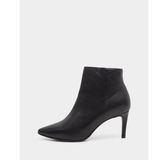 真皮短靴-R&BB牛皮*優雅顯瘦經典歐美尖頭細高跟靴-黑色