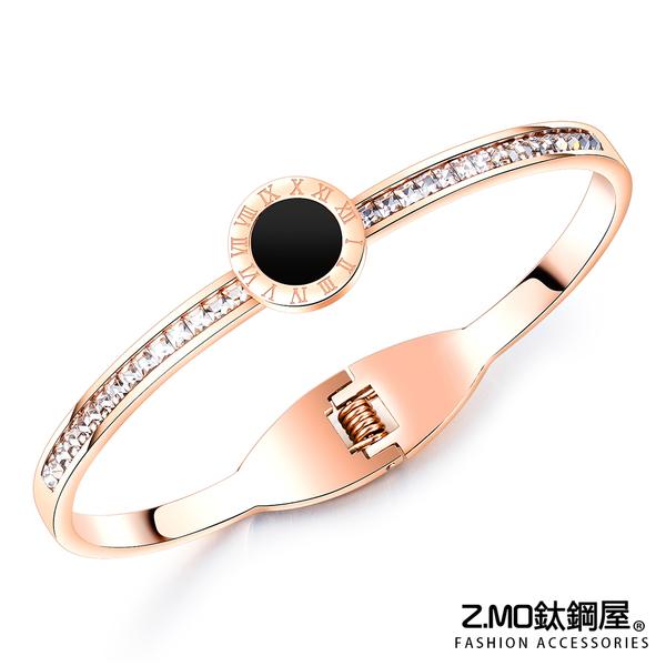 Z.MO鈦鋼屋 女性手環 白鋼手環 鍍玫瑰金色 簡約氣質鑲鑽手環 可加購刻字 單件價【CKS955】