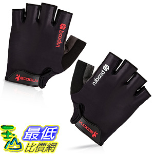 [106美國直購] 手套 BOODUN Cycling Gloves with Shock-absorbing Foam Pad Breathable Half Finger Black
