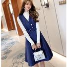 寶藍腰身扣環背心中長裙(不含白色內搭上衣)[99120-QF]美之札