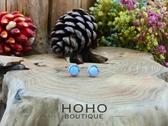 HOHOBOUTIQUE 手作925銀 藍紋瑪瑙耳環 (Blue Lace Agate)