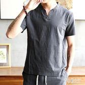 中國風夏季純色麻料亞麻棉麻短袖T恤男大碼流很仙的麻布上衣服xy4268【艾菲爾女王】