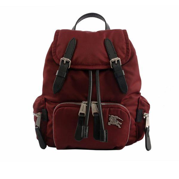 【BURBERRY】The Rucksack鋪棉尼龍小型斜背式軍旅背包(酒紅) 8006717 A1330