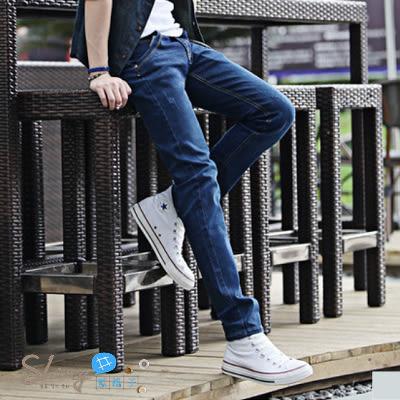 【Y010】shiny藍格子-潮男美型.秋冬款韓版彈力修身直筒小腳牛仔褲