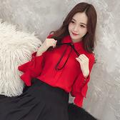 2019秋季新款韓版甜美荷葉邊複古港味寬鬆百搭顯瘦紅色襯衫上衣女