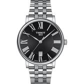 TISSOT 天梭 Carson 羅馬石英錶-黑/40mm T1224101105300