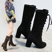 膝上靴 長筒靴女秋冬棉靴新款磨砂系帶靴子韓版高跟馬丁靴女英倫風潮 城市科技