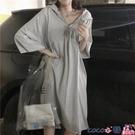 熱賣連帽洋裝 胖MM300斤寬鬆中長款連身裙夏裝新款大碼女裝240斤連帽短袖T恤女 coco