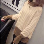 【GZ B1】針織上衣 新款韓版半高領毛衣 時尚拼色套頭寬鬆打底衫