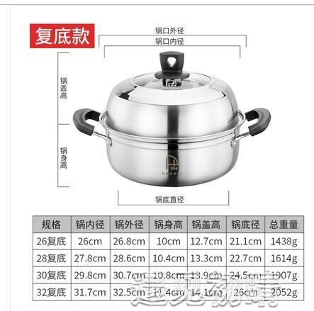 蒸鍋蒸鍋304不銹鋼家用復底加厚單層大容量海鮮汽蒸鍋30cm魚鍋桑拿鍋YJT 【快速出貨】
