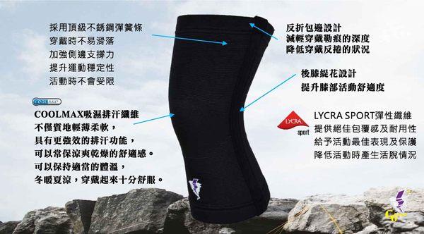 吸濕排汗黑色護膝  GoAround   COOLMAX超彈力護膝(1入) 醫療護具 吸濕排汗護膝 夜跑 膝蓋保護 杜邦萊卡