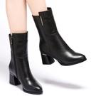 雪地意爾康真皮百搭尖頭時裝靴女馬丁靴2020年新款秋冬季粗跟短靴 後街五號