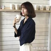 女裝韓版氣質寬鬆七分袖薄襯衫學生V領短袖打底衫襯衣上衣  歐韓流行館