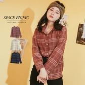 襯衫 Space Picnic|點點線條格紋輕薄長袖襯衫(現貨)【C19103025】