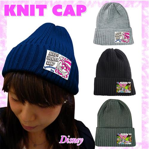【日本進口正版】迪士尼 保暖針織毛帽 愛麗絲夢遊仙境 妙妙貓