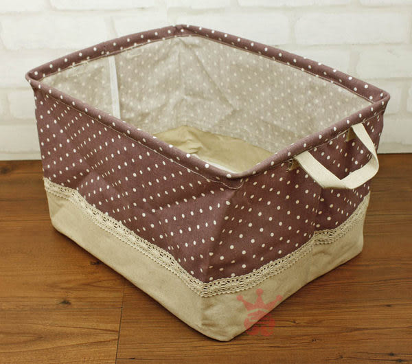 日系雜貨.水玉棉麻置物盒.置物籃.收納籃.收納箱.整理箱(大)