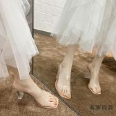 涼拖鞋女外穿時尚粗跟水晶高跟透明一字拖鞋子【毒家貨源】