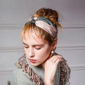髮箍 頭箍 瞭原舒適撞色緞面髮帶韓國髮飾簡約交叉打結髮箍頭飾頭箍寬邊髮帶