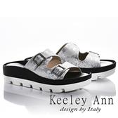 2018春夏_Keeley Ann美式嬉皮~個性暈染真皮軟墊厚底拖鞋(白色)