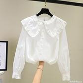 白色娃娃領襯衫女設計感小眾2021新款秋韓版復古港味洋氣長袖上衣 范思蓮恩
