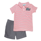 【北投之家】男寶寶套裝二件組 短袖POLO杉上衣+短褲 紅橫條 | Carter s卡特童裝 (嬰幼兒/baby)