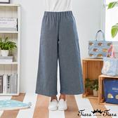 【Tiara Tiara】百貨同步新品aw  鬆緊腰素色牛仔褲(藍)
