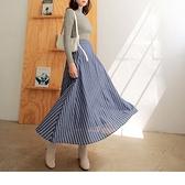 《CA1718-》高含棉後腰頭鬆緊直條紋寬版圓裙 OB嚴選
