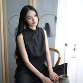 茶服文藝復古苧麻斜襟寬鬆上衣中式立領盤扣黑襯衫無袖茶服打底背心女 韓國時尚週