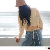 純色高含棉短版腰鬆緊綁帶衛衣上衣 OB嚴選《AB16368》