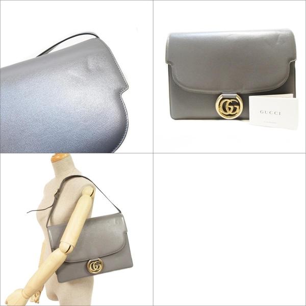 GUCCI 古馳 灰色雙G金屬大LOGO牛皮扣式斜背包 GG Ring Flap Bag 596478 【BRAND OFF】