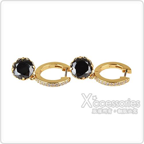 kate spade That Sparkle壓印LOGO鑽鑲飾穿式耳環(金x黑)