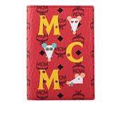 【MCM】滿版Logo 老鼠圖案卡片/護照夾(紅色) MXV ASXL01 RJ001