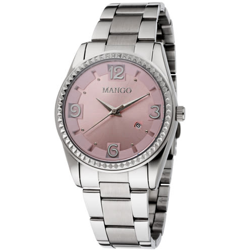 MANGO 耀眼奪目不鏽鋼時尚腕錶-粉/36mm