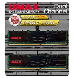 【超人百貨X】 免運UMAX 桌上型記憶體 DDR4 2666 雙通道 32GB(16G*2) 含散熱片 1024*8