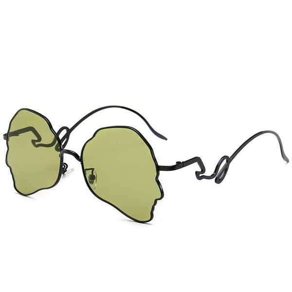 墨鏡 人臉造型款個性秦嵐同款太陽裝飾茶色網紅男女潮蹦迪墨鏡 一件82折