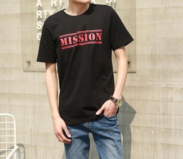 FINDSENSE MD 韓國 潮 男 時尚 純棉 簡約 三色字母印花 短袖T恤
