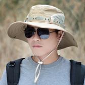 防曬帽子遮陽帽韓版釣魚帽大檐登山太陽帽漁夫帽男士 免運