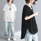 中大尺碼T恤 2021夏裝新款文藝大碼女裝胖mm寬鬆遮肚顯瘦純色棉麻短袖T恤上衣