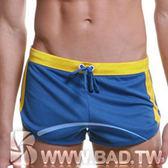 壞男BF ~潮男休閒簡潔款超短褲~藍底黃邊~M XL ~居家褲、健身褲、休閒褲、海灘褲