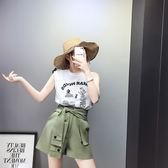 VK精品服飾 韓國風印字母背心棉T加松緊腰短褲系帶套裝短袖褲裝